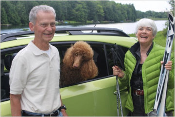 "Fred, the ""Pepster"" and Rae Marie with their new car"